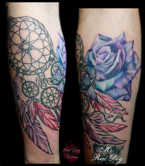 rose dreamcatcher tattoo abstract with dreamcatcher on leg