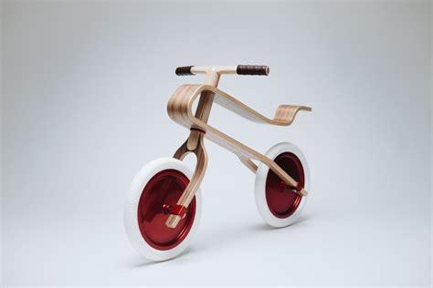 designboom wooden bike brum brum wooden balance bike for kids walnut finish