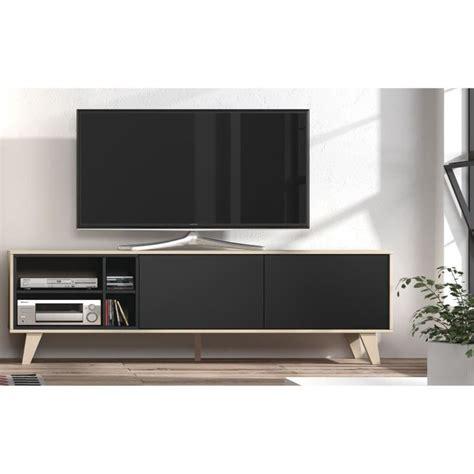 ZAIKEN Meuble TV scandinave gris anthracite et décor chêne