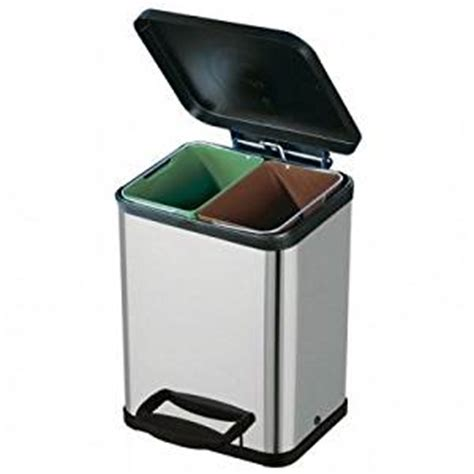 poubelle de cuisine tri s駘ectif 2 bacs poubelle tri s 233 lectif 2 bacs inox amazon fr cuisine maison