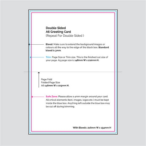 Sided Greeting Card Template by Print Digital Printers Sided A6