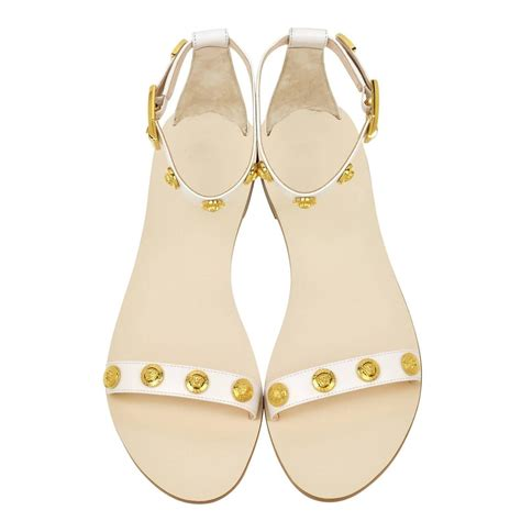 versace sandals sale versace white leather flat sandals for sale at 1stdibs