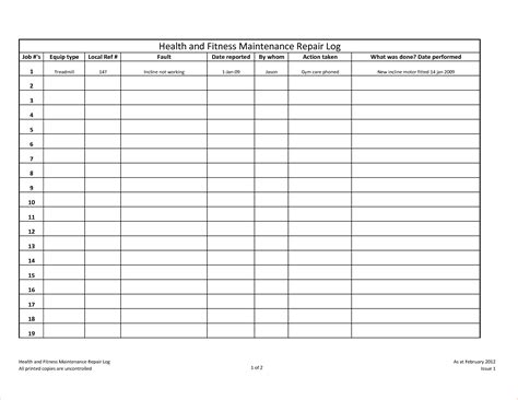 vehicle maintenance log template autos post