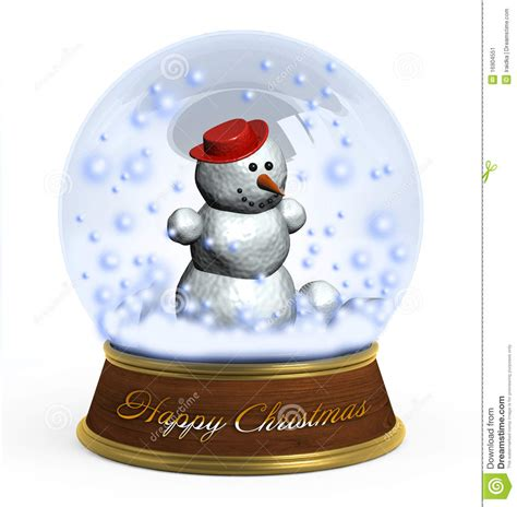 christmas snow globe on white background stock