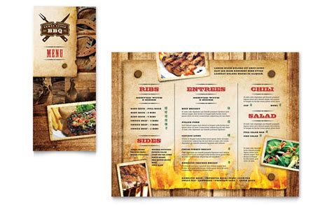 menu templates for publisher steakhouse bbq restaurant take out brochure template design