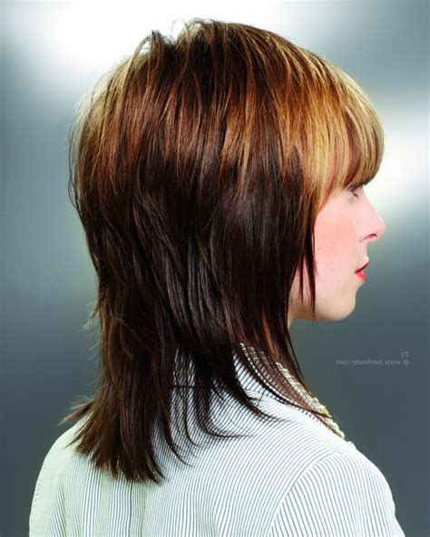 front and back views of medium length hair view of front and back of layered bob hairstyles short