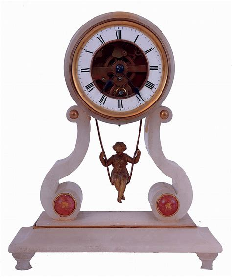 swing clock farcot a paris girl on a swing mantel clock alabaster case