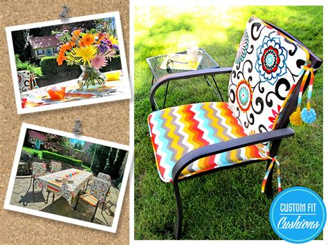 Outdoor Chair Cushions With Pom Ties Sew4home Sewing Cushions For Outdoor Furniture