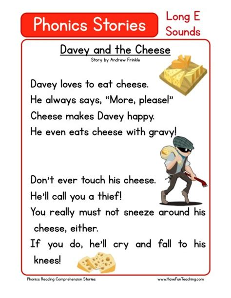 Phonics Reading Worksheets For Kindergarten by Reading Comprehension Worksheet Davey And The Cheese