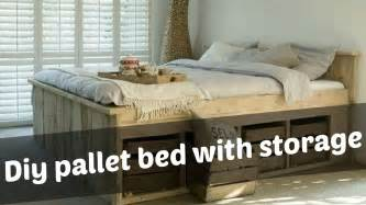 Build Platform Bed Storage by Diy Pallet Bed With Storage Ideas Youtube