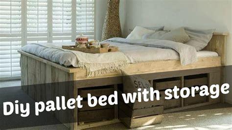 diy pallet bed  storage ideas youtube