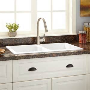 34 quot evart double bowl drop in granite composite sink