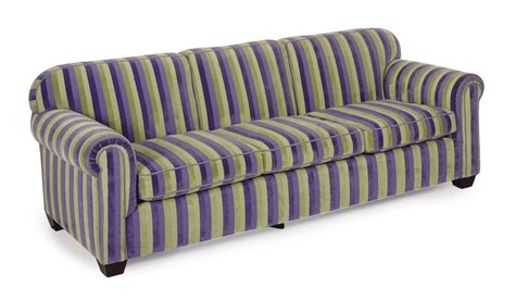 A Purple And Green Striped Plush Upholstered Sofa