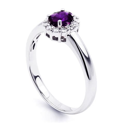 18k White Gold Amethyst And Diamond Engagement Ring H Si