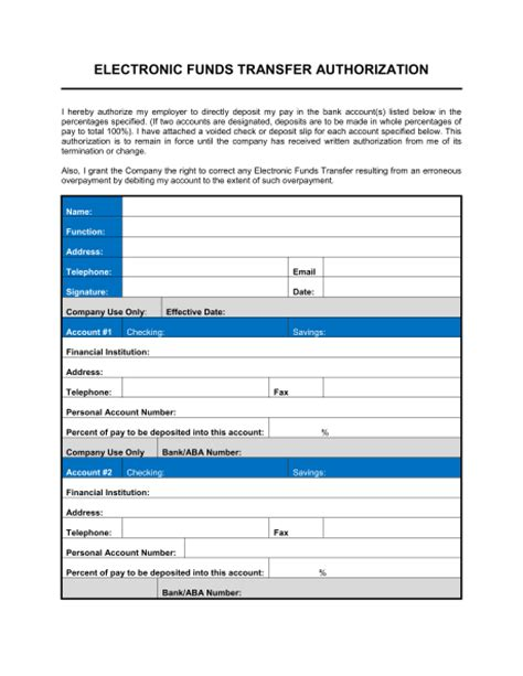 5 generic direct deposit form templates formats
