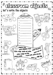 esl kids worksheets classroom objects