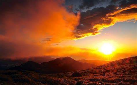 sunlight sunset sunrise nature landscapes mountains hills