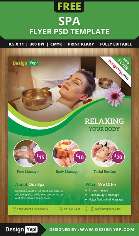 free spa flyer psd template for download on behance