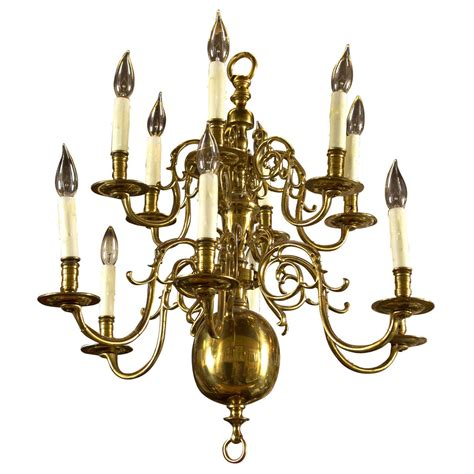 Colonial Brass Chandelier Two Tier 12 Light Chandelier At 1stdibs