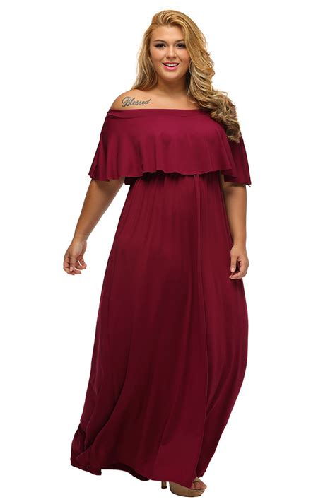 Maxi Shiren Set Maroon 3in1 plus size ruffle shoulder maxi dress inasari