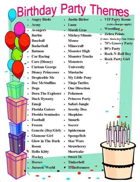 theme item list birthday party info skate and shake