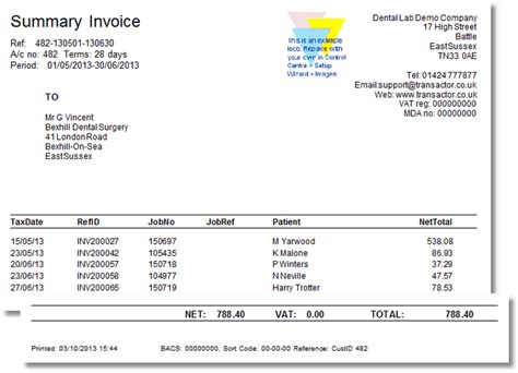 print a monthly invoice or statement