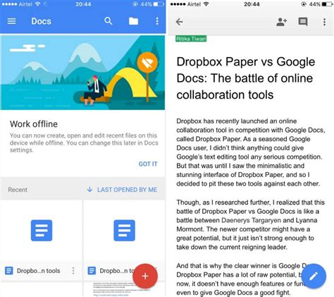 docs mobile dropbox paper vs docs which is better for