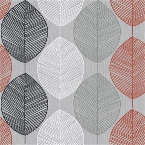 grey leaf pattern wallpaper retro leaf silver orange 408203 arthouse wallpapers
