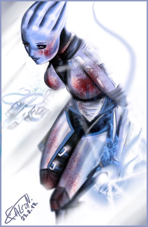 liara t soni mass effect fan art by falconsketcher