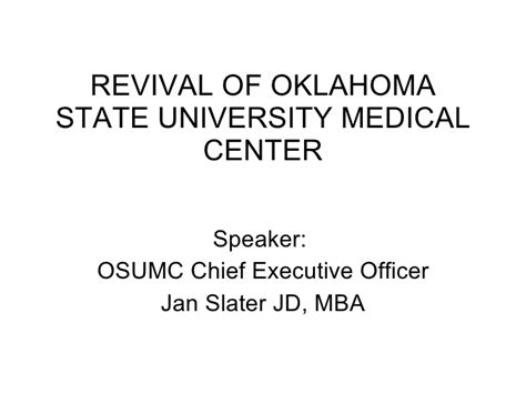 Jd Mba Oklahoma Review by Revival Of Oklahoma State Center