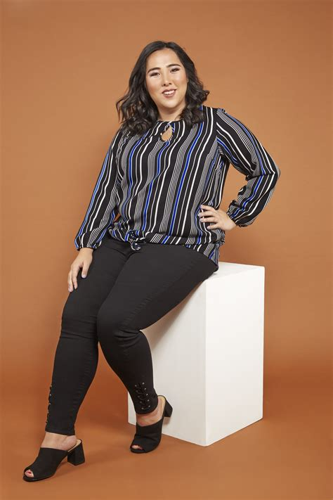 Napoclean Strong By Nry Fashion black cobalt blue striped blouse with tie front plus