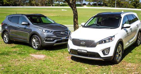 Compare Kia Sorento And Hyundai Santa Fe by Hyundai Santa Fe Highlander V Kia Sorento Platinum