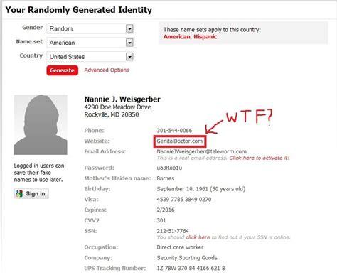 funny fake names fakenamegenerator com fail
