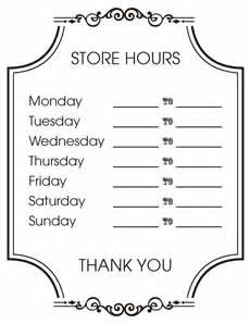 Printable Business Hours Sign Template by Free Printable Operational Signage For Business