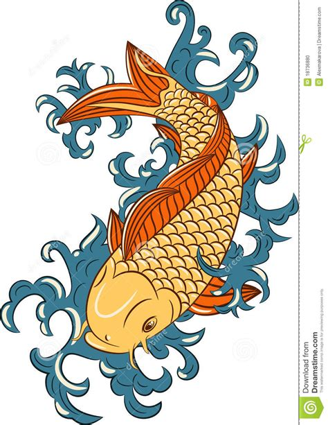 japanese style koi carp fish stock vector illustration