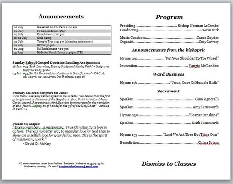 layout for bulletin church program template peerpex