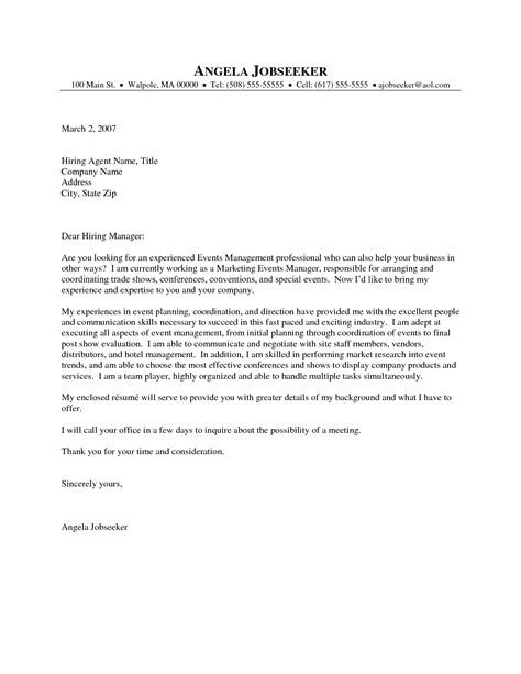 Letter Of Recommendation For Finance Director event planner cover letter sle the letter sle