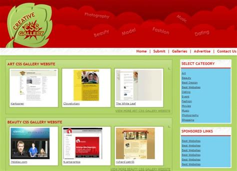 html layout gallery css galleries web design css showcase gallery css