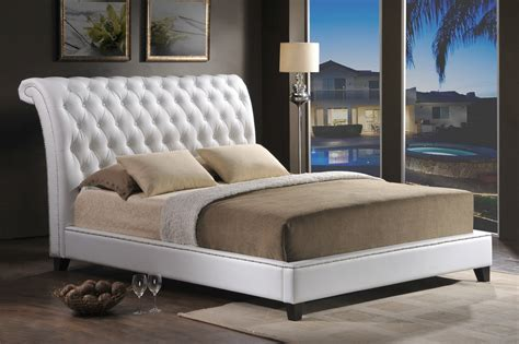 Stella Tufted White Modern Bed With Upholstered Headboard by Stella Tufted White Modern Bed With Upholstered