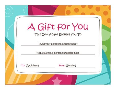 gift card template printable birthday gift certificate template free printables