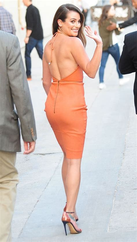 Lea Tops lea michele in an orange dress