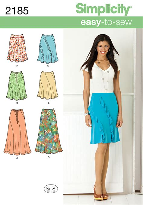 dressmaking pattern ease simplicity 2185 misses easy to sew skirts
