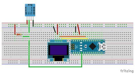 i2c resistor array arduino er temperature humidity monitor using arduino nano dht11 0 96 inch 128x64 i2c oled