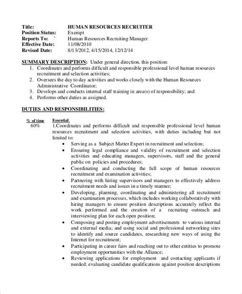 hr manager job description 6 free sle exle sle