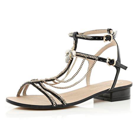 black block sandals river island black block heel chain trim sandals in black