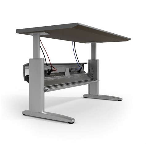 electric desks that adjust height ki genesis electric height adjustable desk with powered wireway 720wisc concepts
