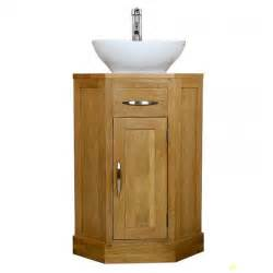 50 corner oak cloakroom vanity unit with basin