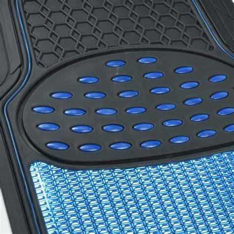 aluminum metallic trimmable rubber car floor mat blue black heavy duty pc bdk ebay