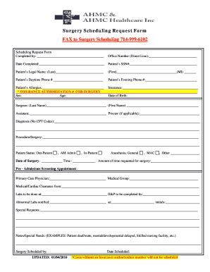surgery schedule template surgery clearance form edit fill print