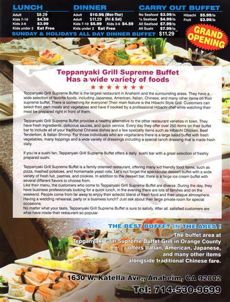 teppanyaki grill supreme buffet oc restaurant guides